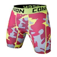 Men's Compression Shorts Red Camo Workout Tights