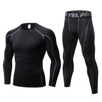 Men's Workout Clothes LS Black Grey Fitness Athletic Gym Suits