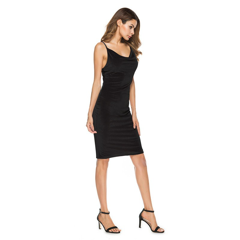 Reviews 2018 Womens Dresses Bodycon Velvet Black Tight Dress 2018