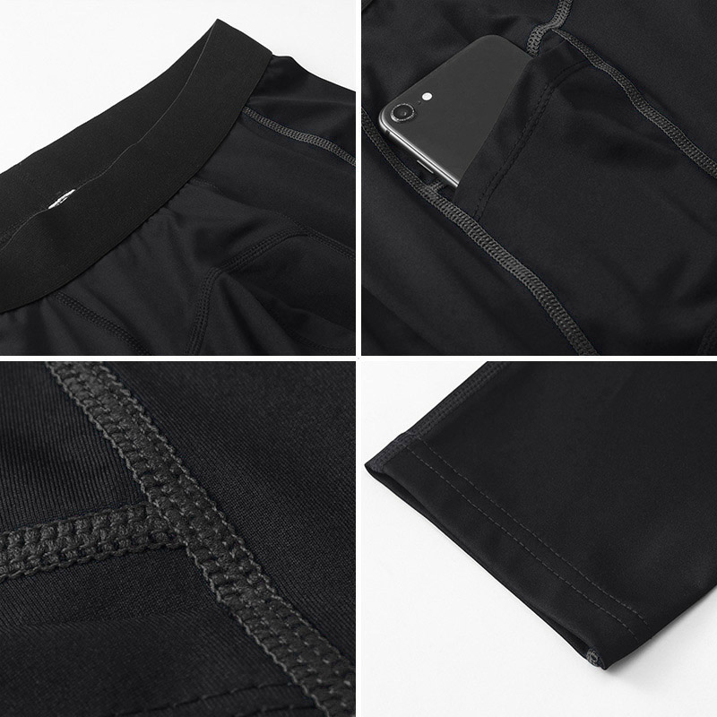 Men's Black Exercise Leggings With Phone Pocket - Click Image to Close