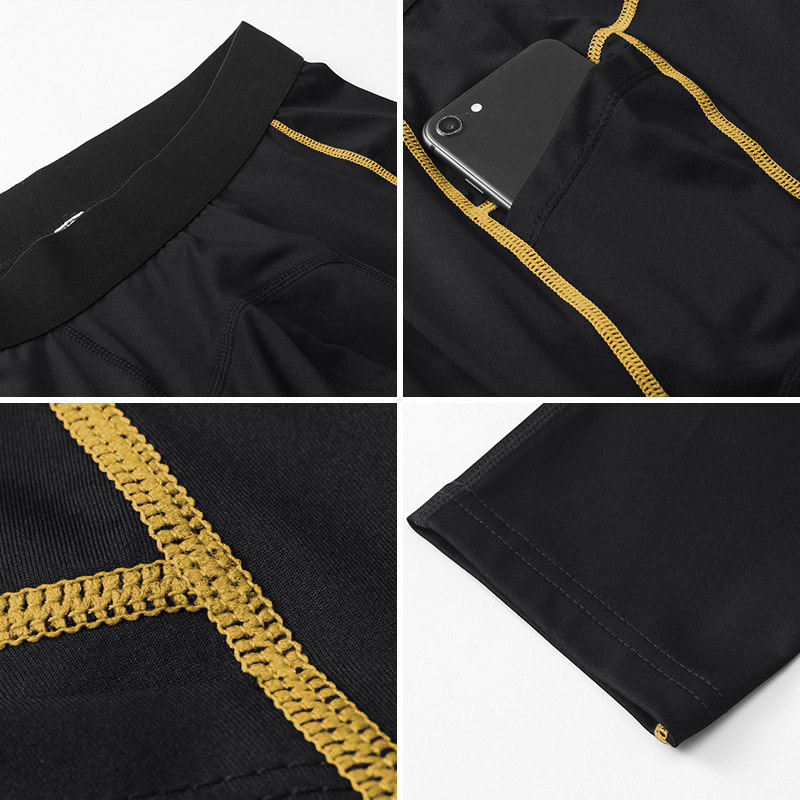 Men's Yellow&Black Exercise Leggings With Phone Pocket - Click Image to Close