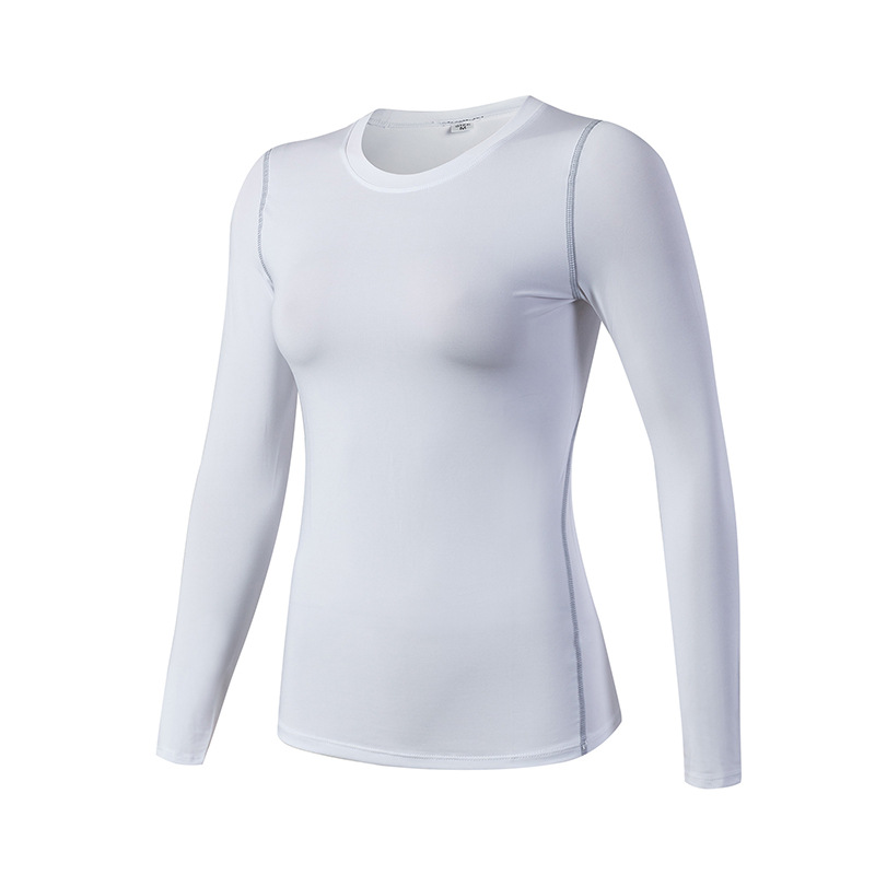 Women's Yoga Shirts Long Sleeve Gym White Quick Dry Workout Tops - Click Image to Close